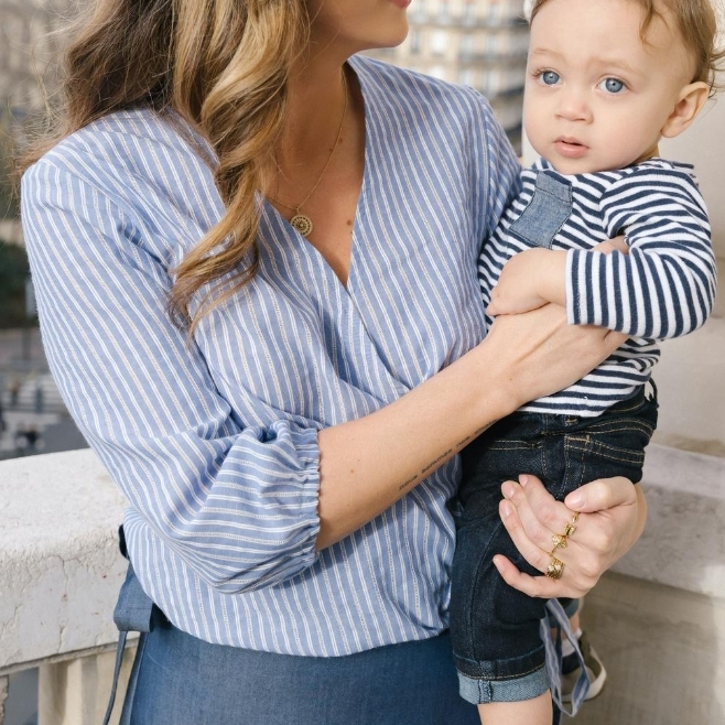 Gaelle Textured Crochet Blue White Stripes Cotton Wrap Top, Breastfeeding Friendly  by Choix