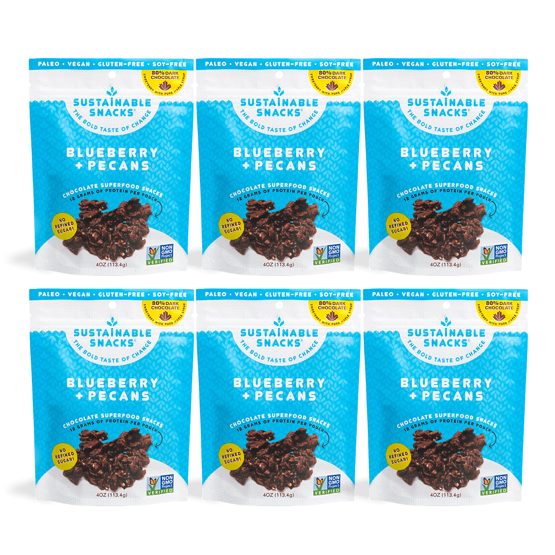 Blueberry + Pecans Snacks 6 Pack by Sustainable Snacks